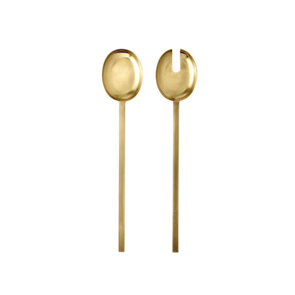 Danish designedsalad servers as set of two, made of solid brass.    FERM LIVING $65