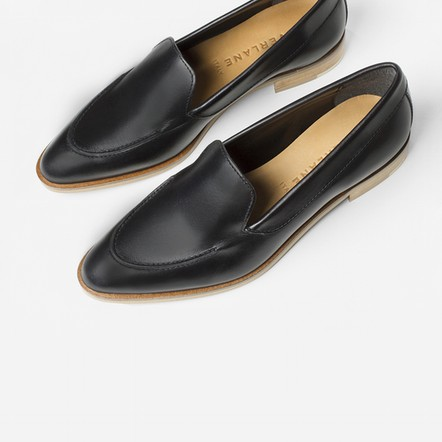 The Modern Loafer   Hand polished Italian leather, has stitching details on toe and low stacked wooden heels.  EVERLANE $170