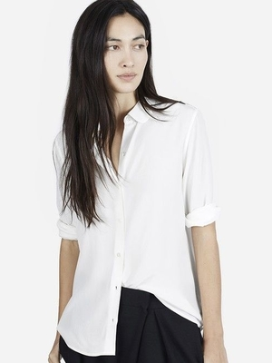 Silk Round Collar Shirt   Classic silk polished and simple shirt with round collar. It features traditional shoulder seams and an exposed button placket.  EVERLANE $78