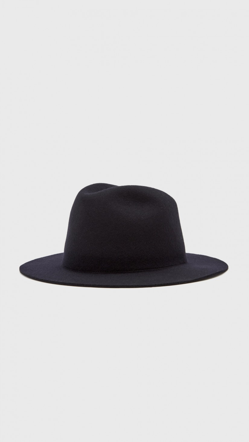 Wool Hat   Classic felted navy wool fedora hat with grosgrain band.  APC $200