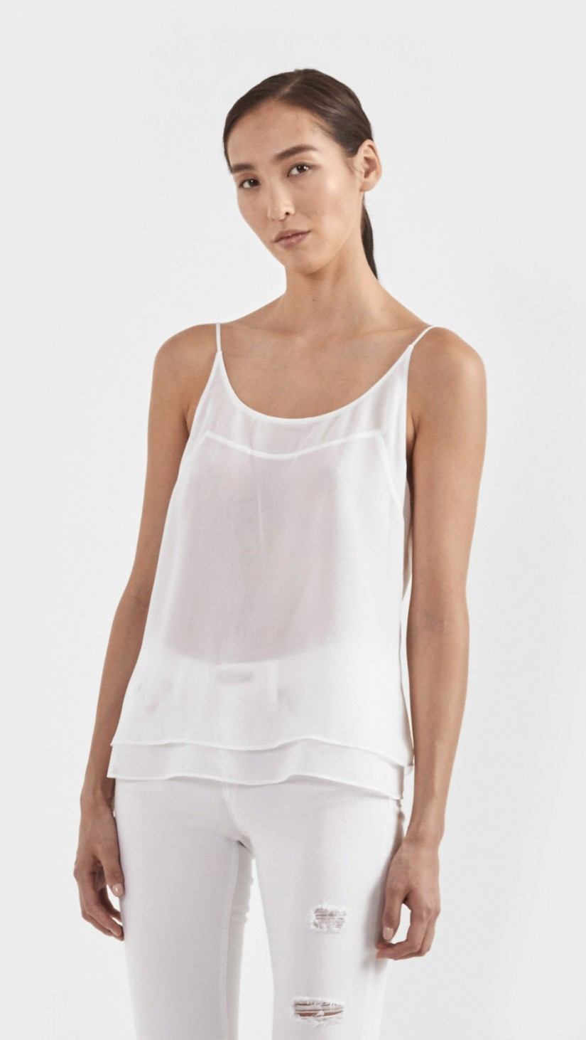 Tank in Linen   Semi sheer linen tank top in layers. Slightly longer in front.  J BRAND $45