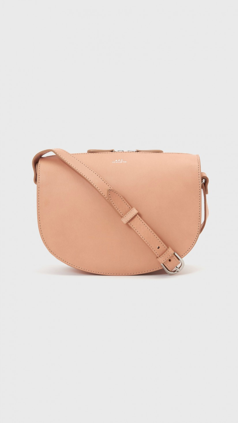 Andrea Half Moon Bag   Beige natural leather with half moon shape. Has adjustable buckle strap and zip closure.  APC $435
