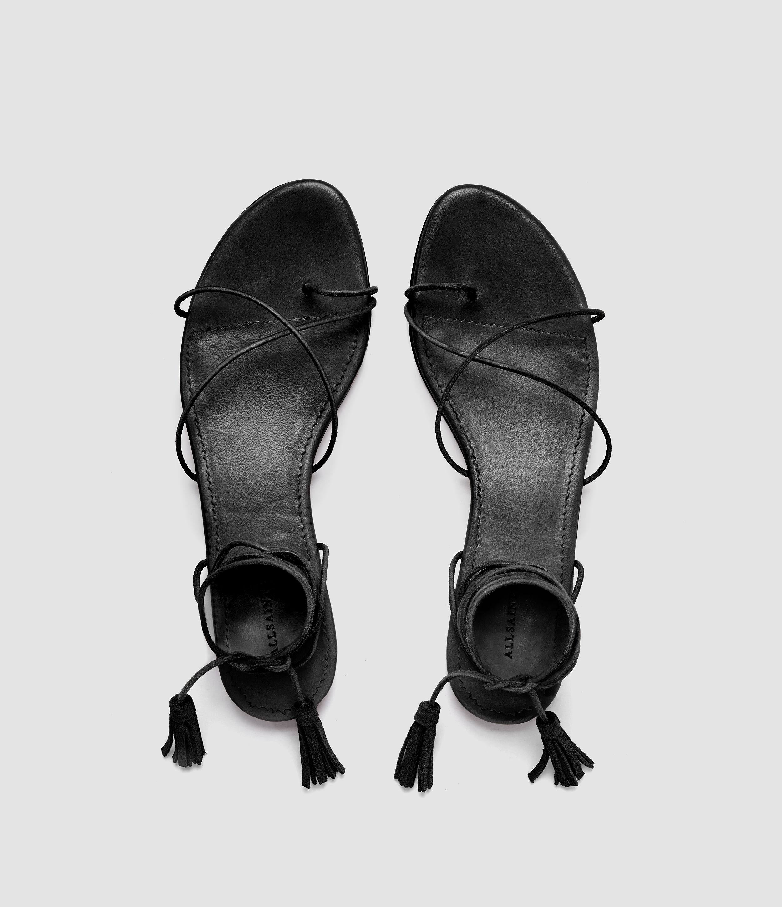 Dorica Flat Sandal   Hand finished self-lacing leather sandals.  ALLSAINTS $178