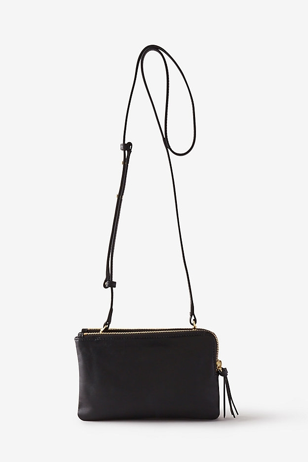 Lilly Bag   Two compartment shoulder bag with double top zip closure with brass d-ring detailing in soft Italian leather.  STEVEN ALAN $235
