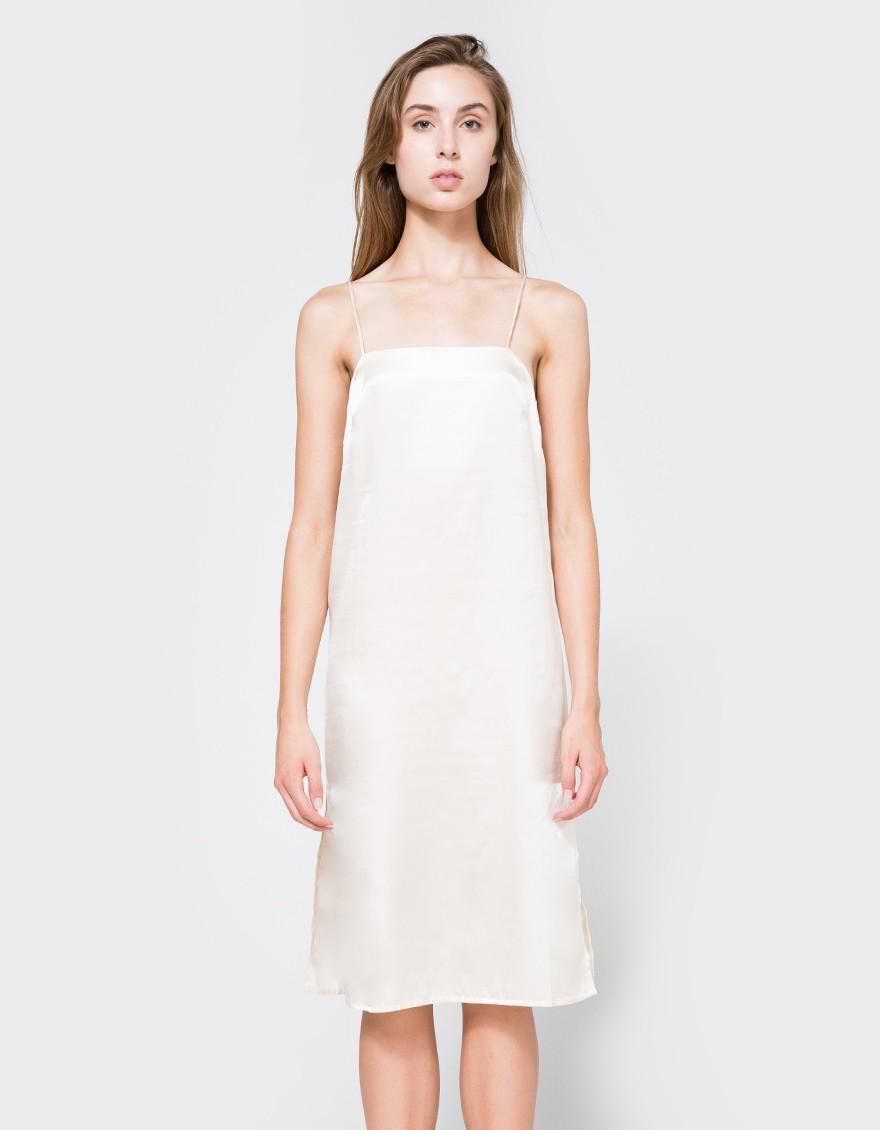 Silk square neck dress