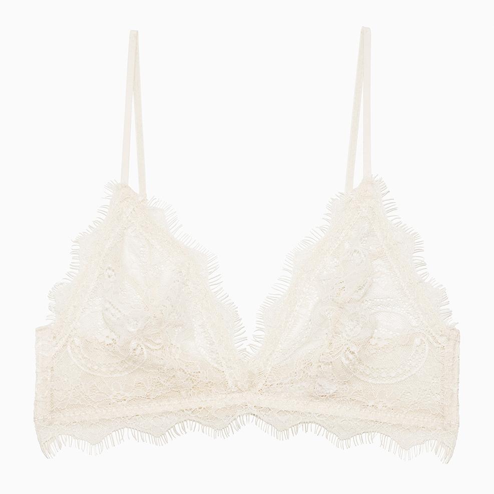 Lace bra with trim