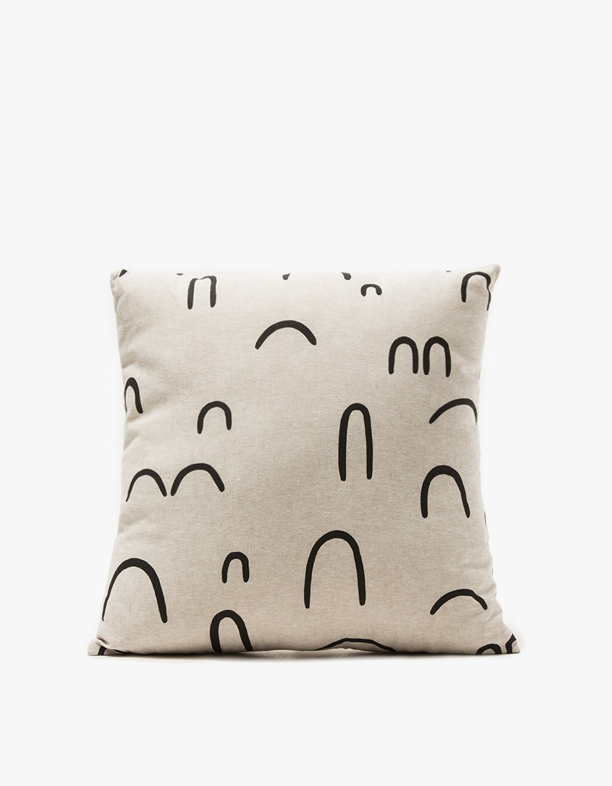 A throw pillow in Hills+Valleys. Abstract print design. Unpatterned flax linen reverse. Invisible zipper closure. Hand silkscreen-printed with eco-friendly ink. Includes Polyfill pillow insert.  COTTON & FLAX $85