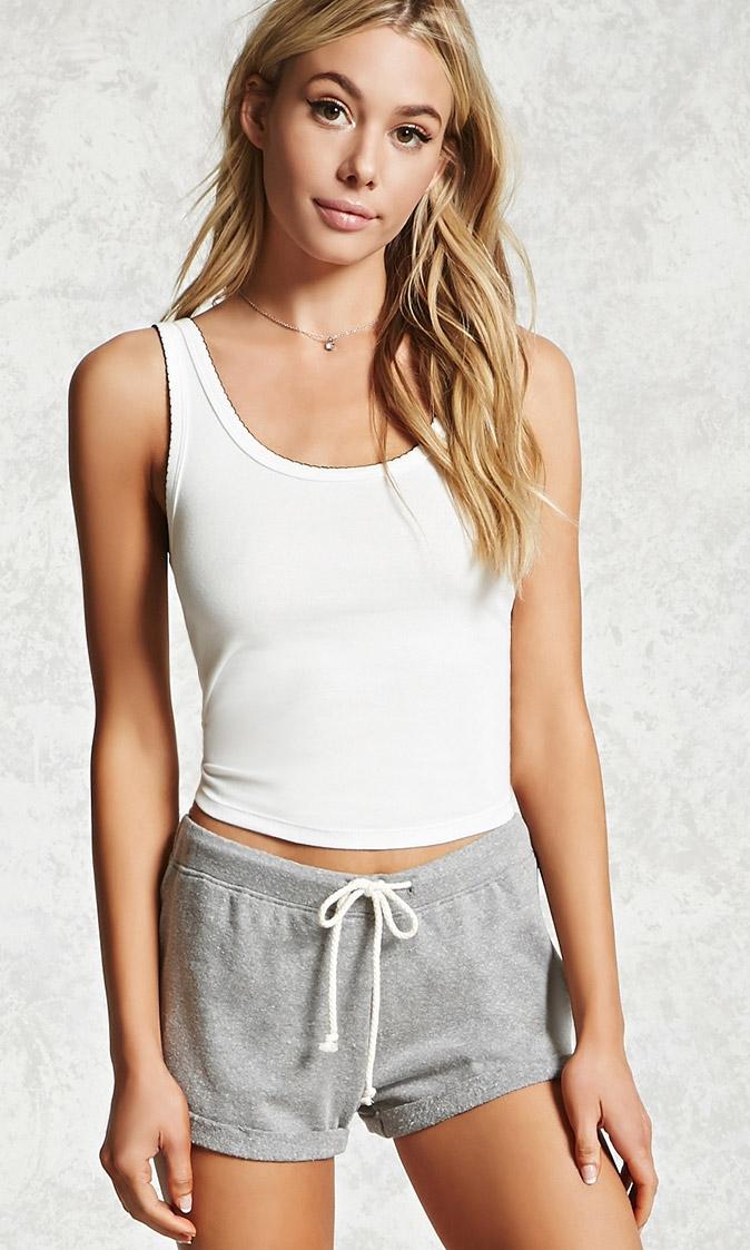 FOREVER 21 Heathered Pajama Shorts