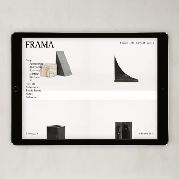 Scandinavian shop  Frama  has just launched their exclusive online store introducing their brand and a tour to their store, including a peek on their latest projects.