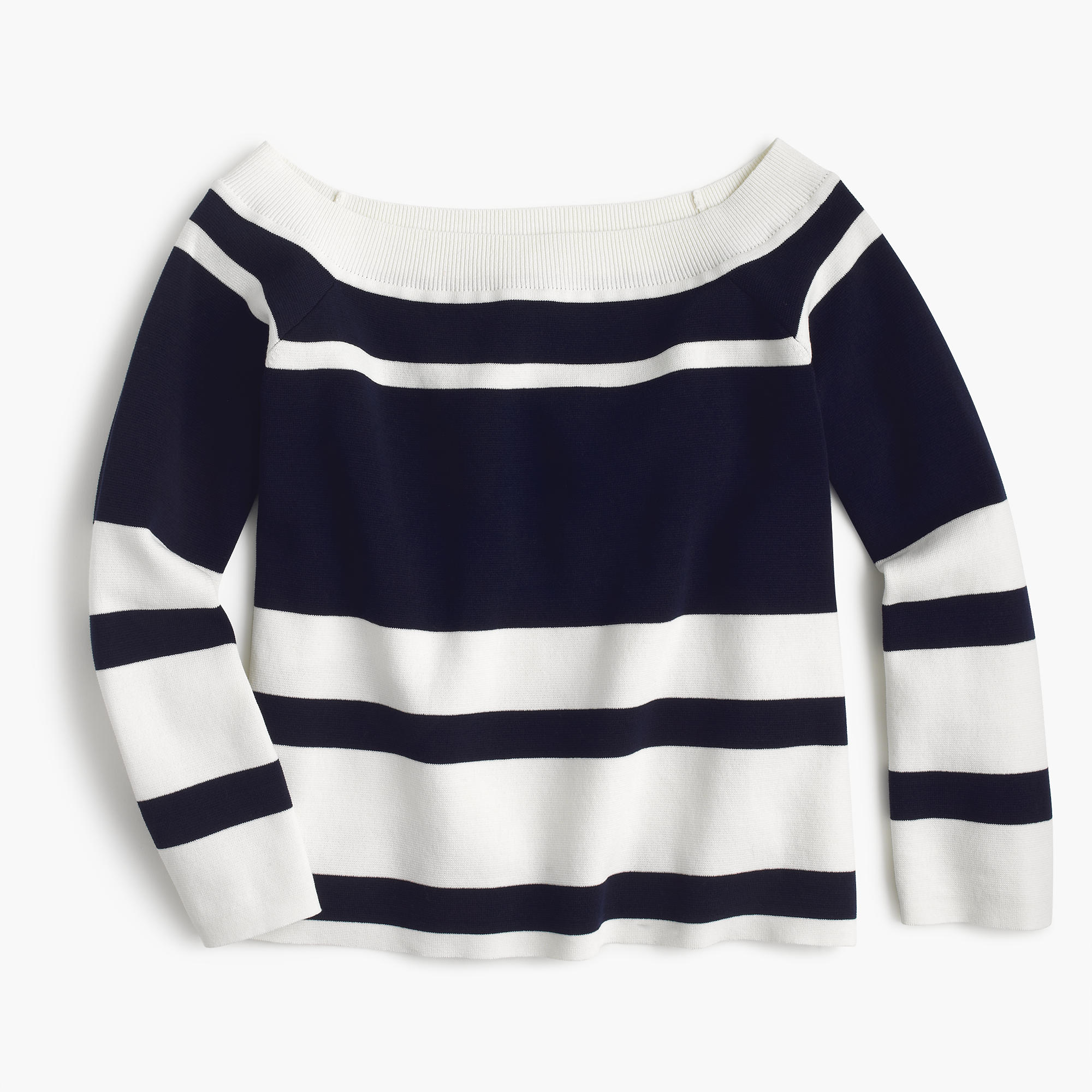 Off the Shoulder Striped Sweater