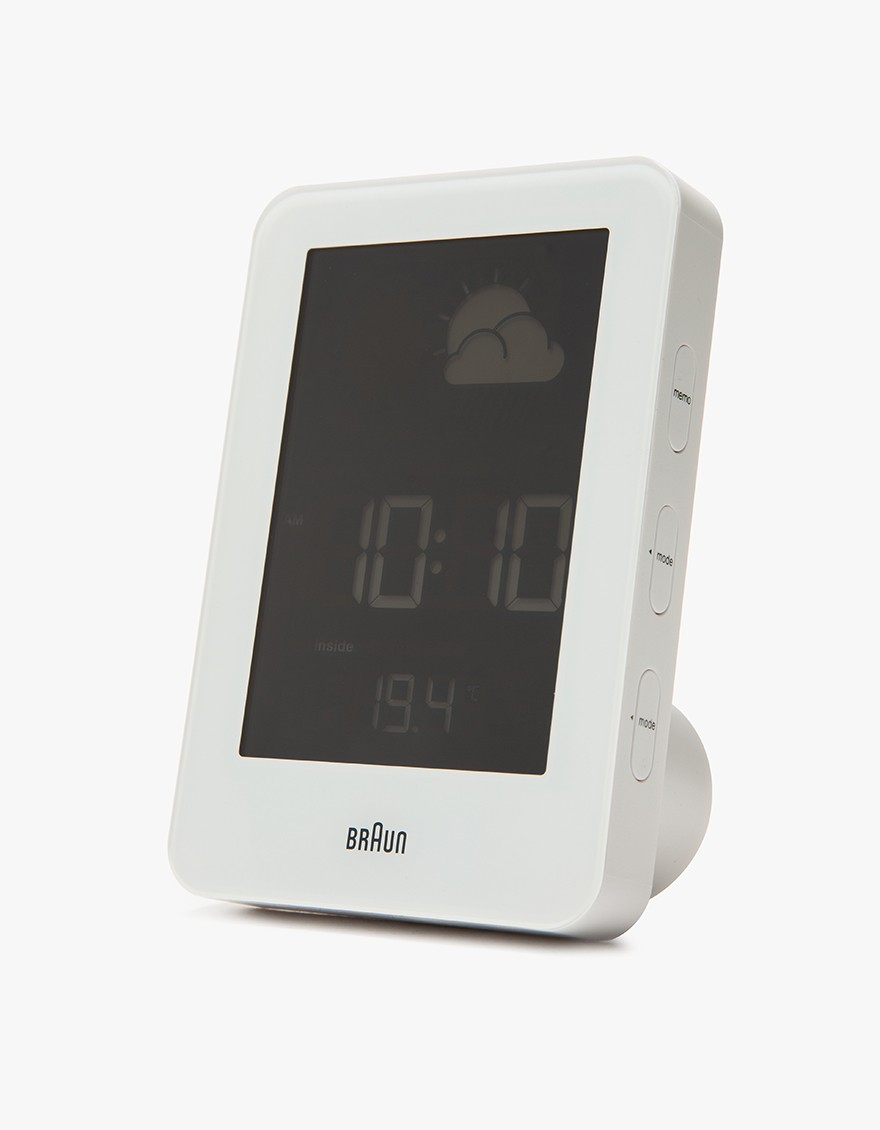 BRAUN Digital Weather Station  Displays indoor and outdoor temperature, weather forecast, time and alarm clock. It has customizable interface.