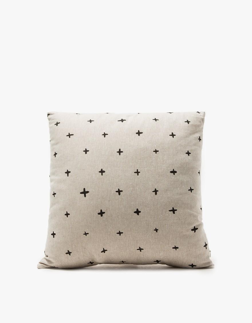 COTTON & FLAX Throw Pillow  Silkscreen printed design on unpatterned flax linen.