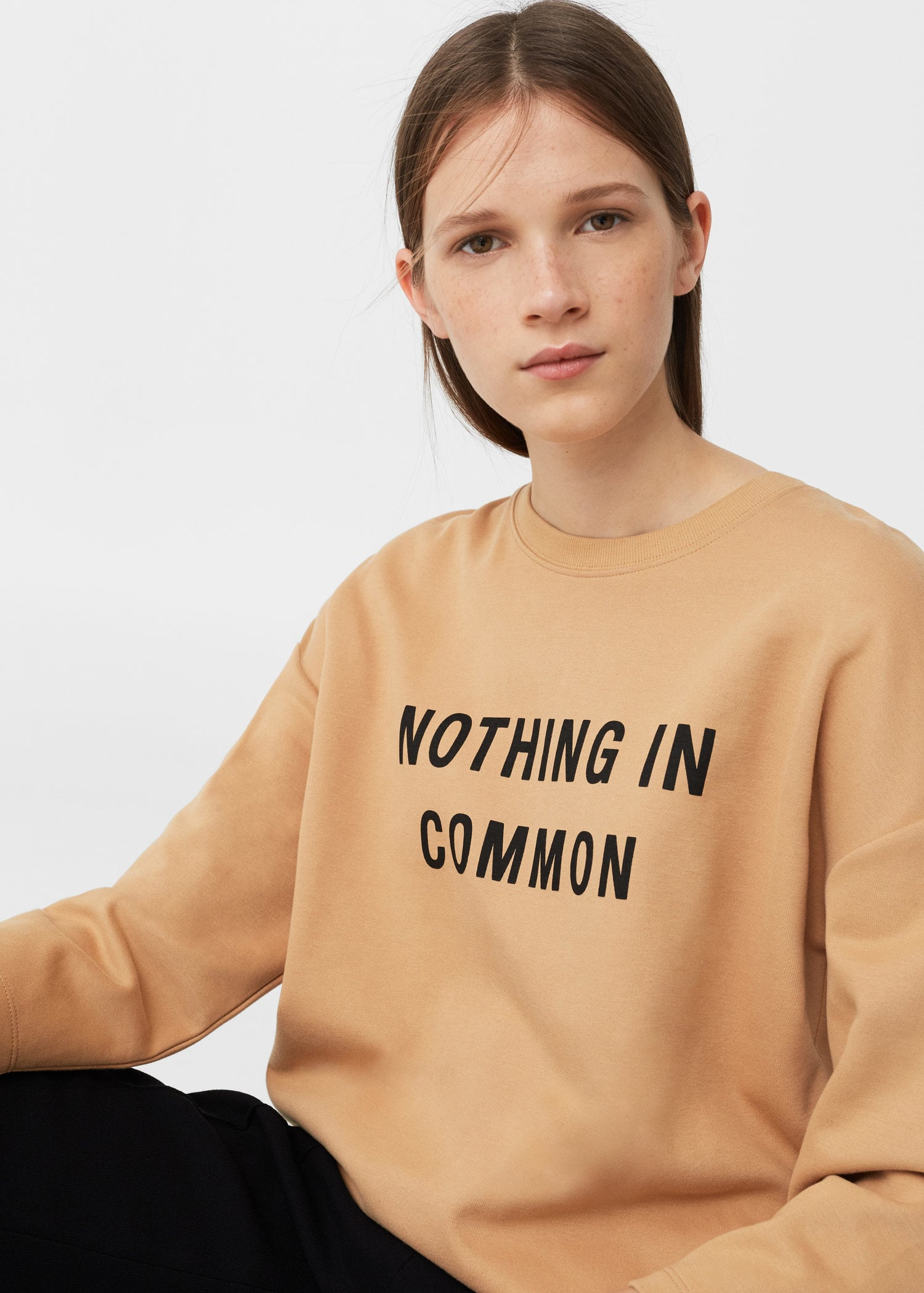 MANGO Message Cotton Sweatshirt  Printed message sweater made of cotton with round neck and ribbed trim.