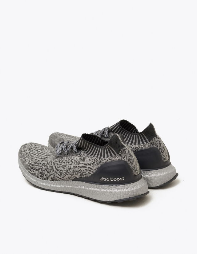 ADIDAS Ultra Boost X  For the modern runner in Grey and Grey. Lace-up front with flat woven laces. Sock-like construction. Adaptive arch. TORSION® SYSTEM. Supportive heel counter and midfoot cage. STRETCHWEB outsole with Continental™ Rubber.