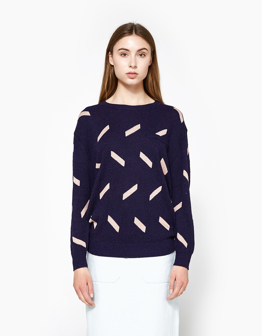 CALLAHAN Geo Everyday Crewneck  Classic pullover sweater from Callahan in Navy. Pink dash pattern. Fine gauge rib knit. Round neckline. Dropped shoulders. Long sleeves. Faux left chest pocket. Ribbed neck, cuffs and hem. Straight hem. Casual fit.