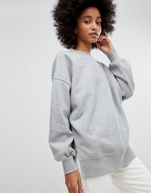 NEW LOOK Slouch Sweat  Oversized grey crewneck with dropped shoulders and split sides.