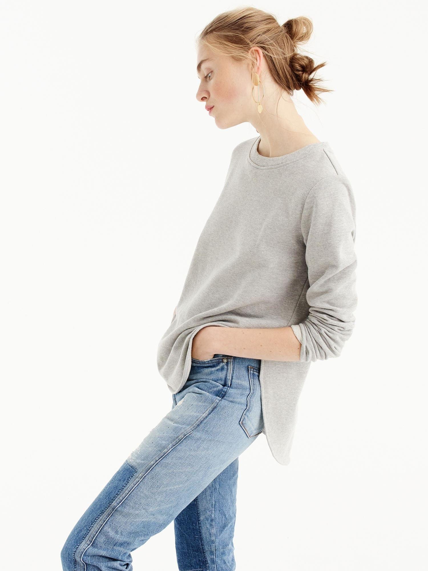 J.CREW Round Hem sweatshirt Tunic  This easy sweatshirt tunic has a rounded hem that's just the right (bum-covering) length.
