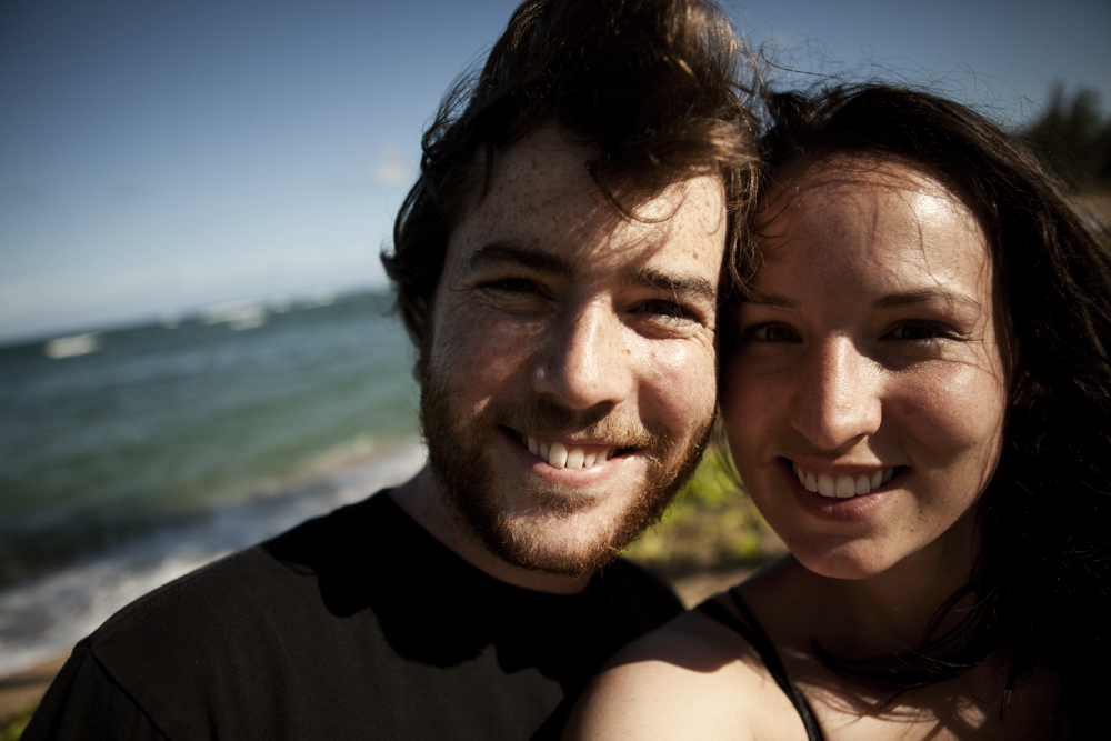 Mitch and Emma Smiling on Beach