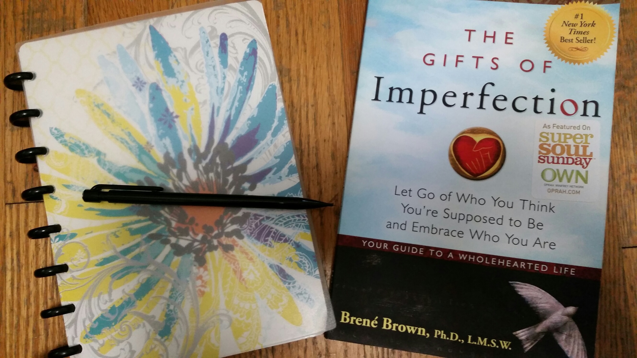 Gifts of Imperfection and notebook