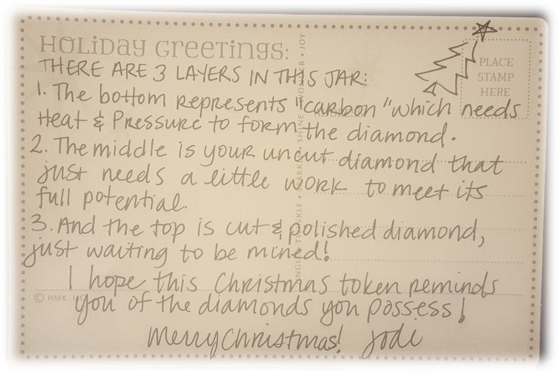 Here's the lovely hand-written card that Jodi gave with her gift.
