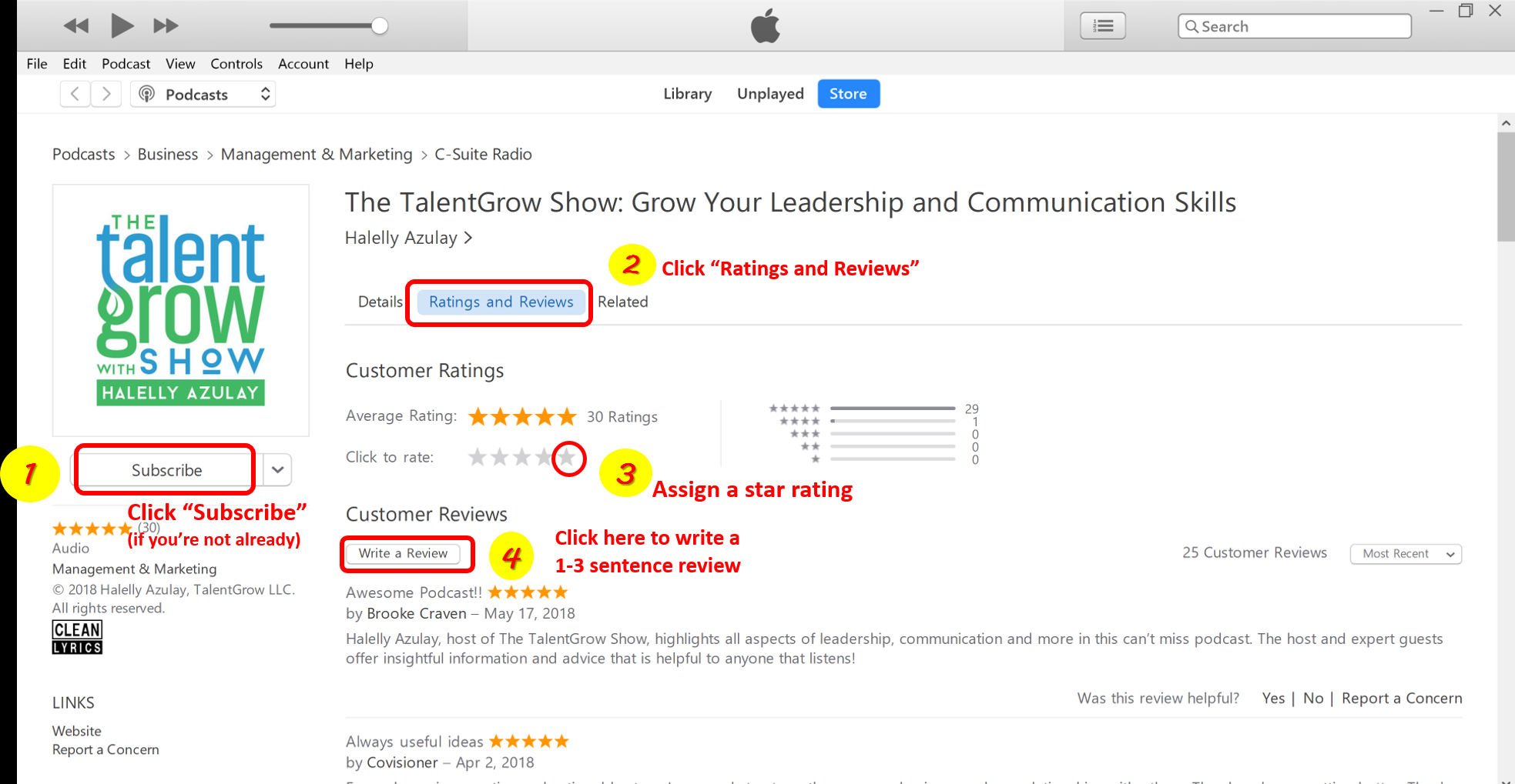 4 easy steps to rate and review a podcast on Apple Podcasts