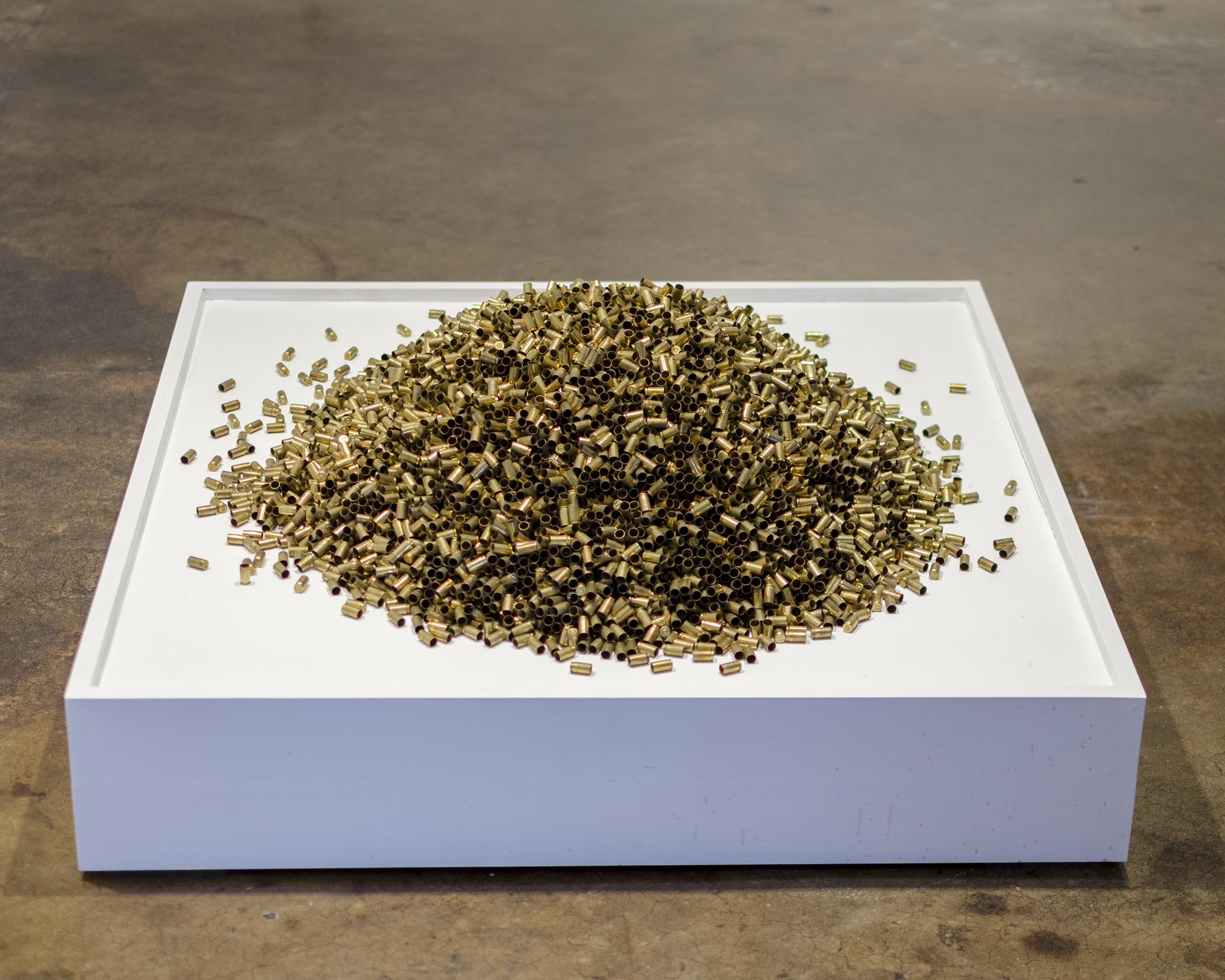 """13,405, Empty Bullet Shells, 2016, 36""""x36""""x24"""""""