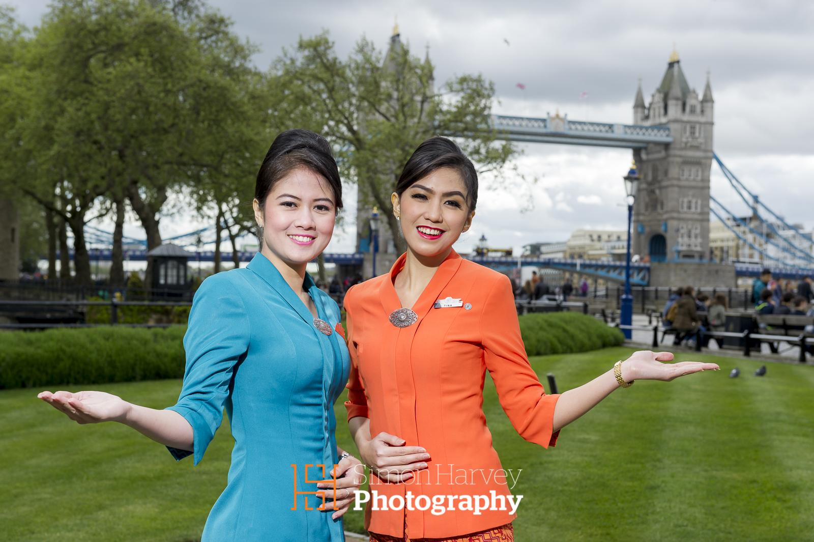 2 Garuda Indonesia Hostess' exploring Tower Bridge and other London landmarks