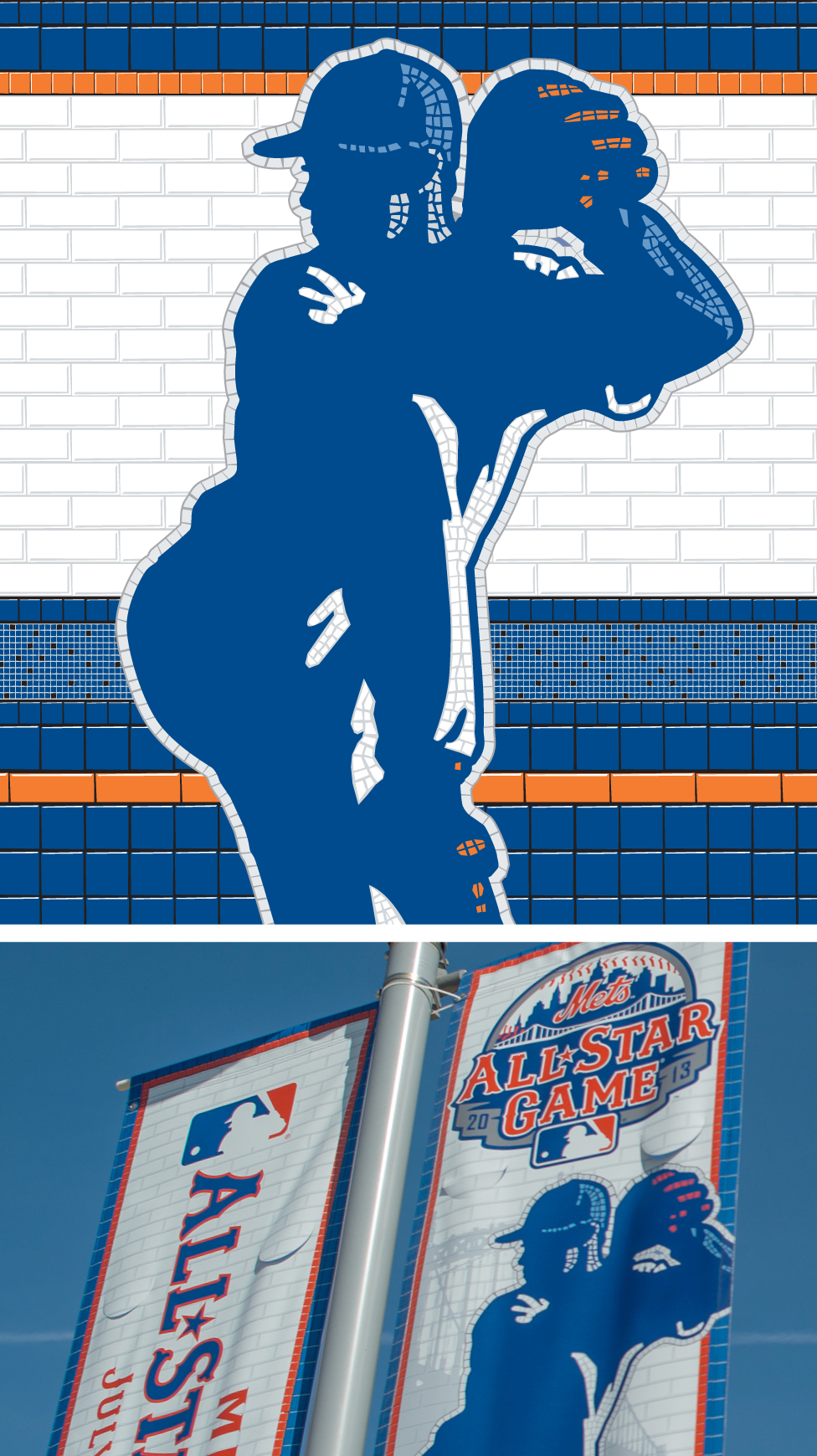 Subway tile mosaic inspired Player Art for the 2013 All-Star Game