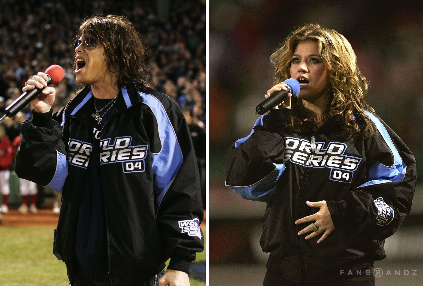 """Steve Tyler and Kelly Clarkson provided their platinum-selling voices for Game One's """"Star Spangled Banner"""" and """"God Bless America"""" renditions."""