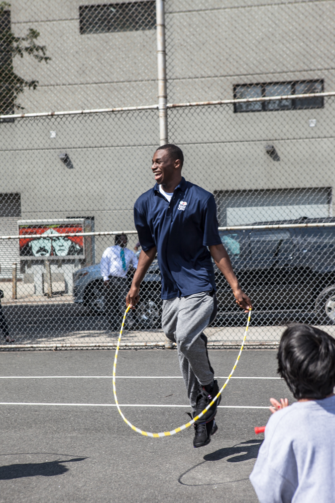 Andrew Wiggins, hours before getting selected No. 1 overall in the NBA Draft, teaches kids how to jump rope.