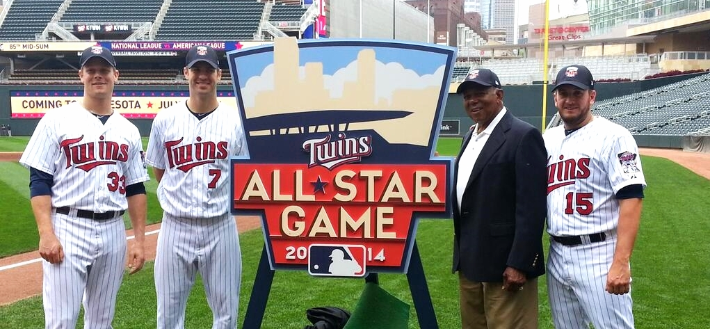 The 2014 All-Star Game logo is unveiled in a press event.