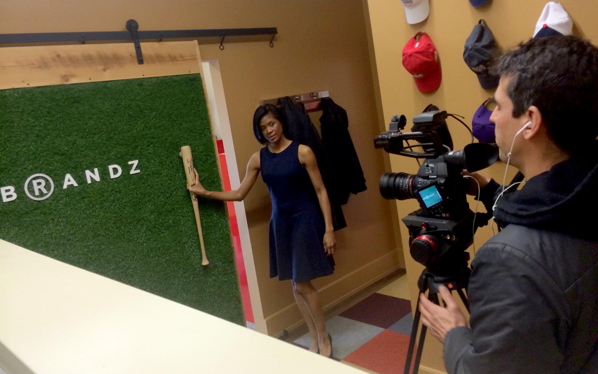 Robin Wilson with Open House TV demo's our 'Astro Turf' reclaimed barn door.