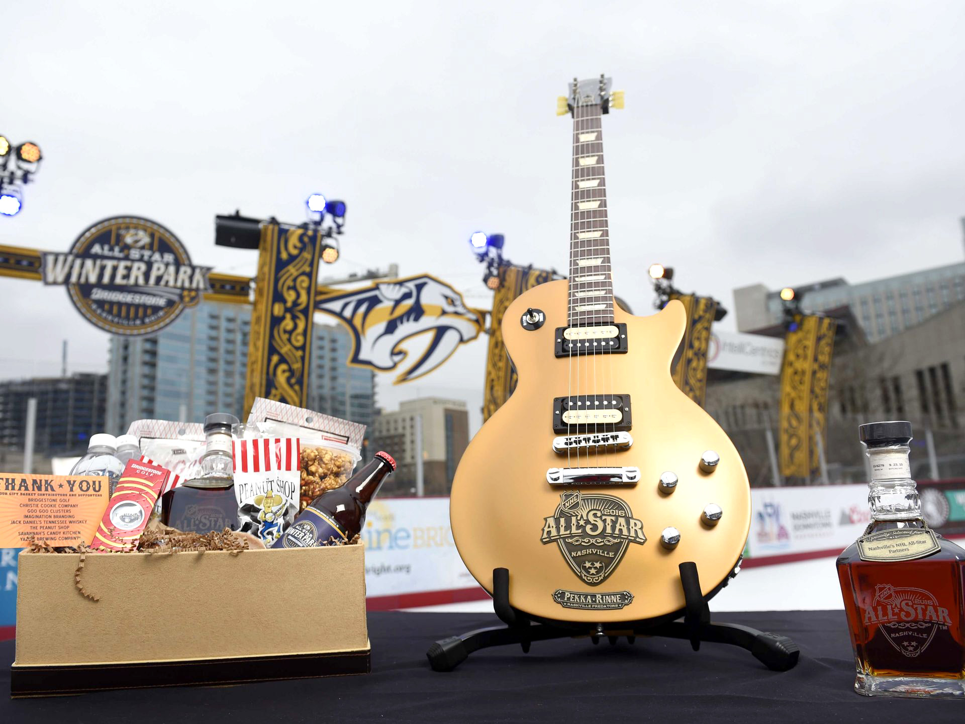 Every All-Star player received a gift bundle including a custom Gibson Les Paul guitar and a branded bottle of Jack Daniels whiskey.