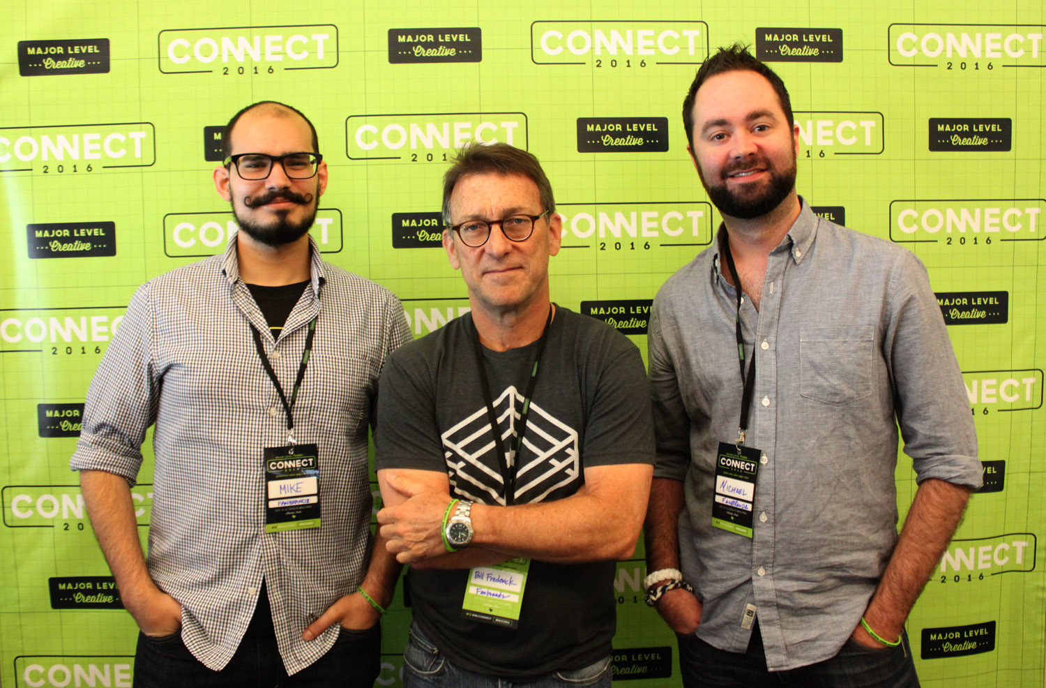 Bill, Mike and Michael at the Major Level Creative Connect Conference, 2016