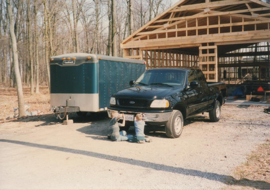 Building the Lange Custom Builders Shop with the first green trailer and black truck.