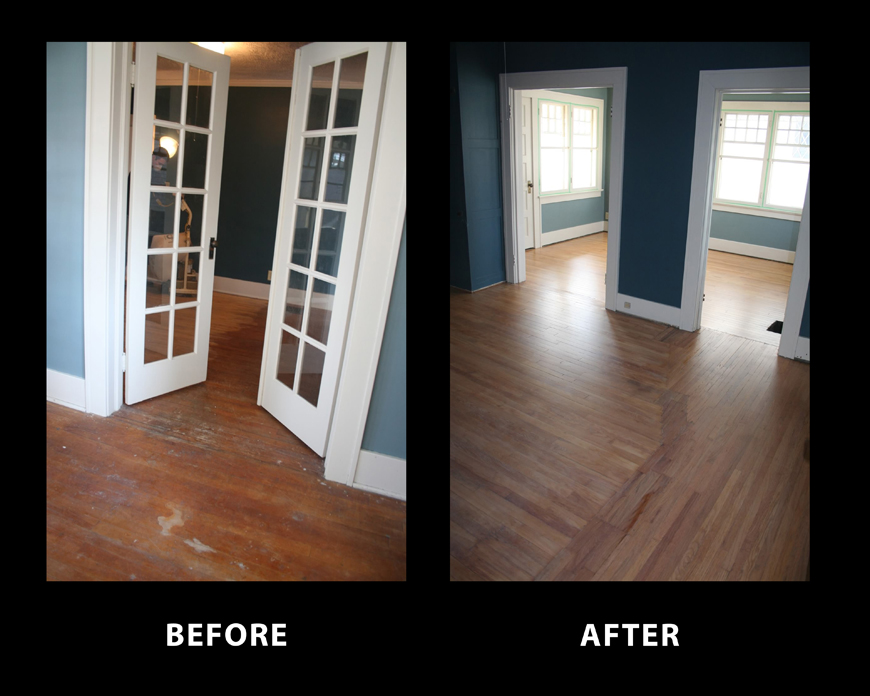 Refinished solid oak floors in home built in the 1800s.