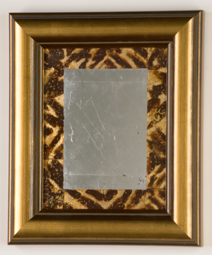 "Faux Tortoiseshell Mirror  11 1/2"" x 13 1/2""   tinted varnish, 22 karat gold , gilders gold, and gilders silver,"
