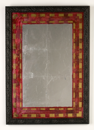 Red and Gold  Mirror   tinted varnish, 22 karat gold and gilders silver