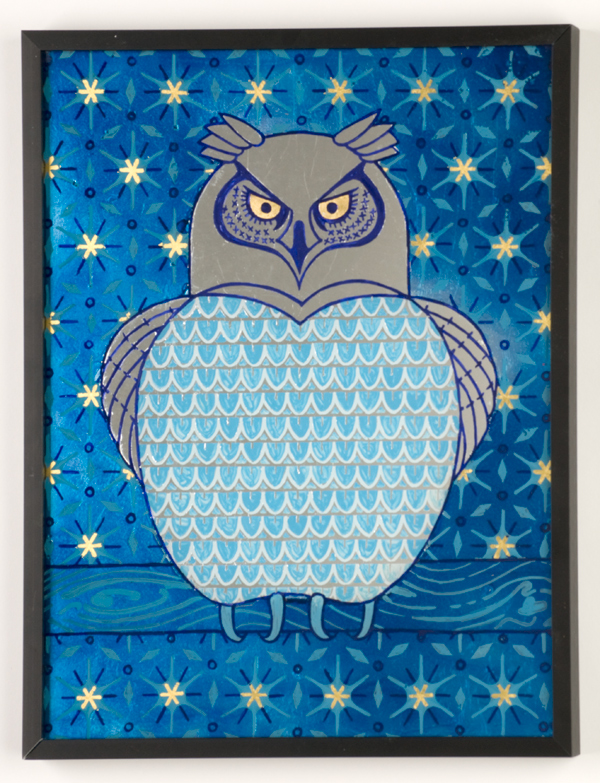 Owl  Oil paint, tinted varnish, 22 karat gold leaf and gilders silver on glass