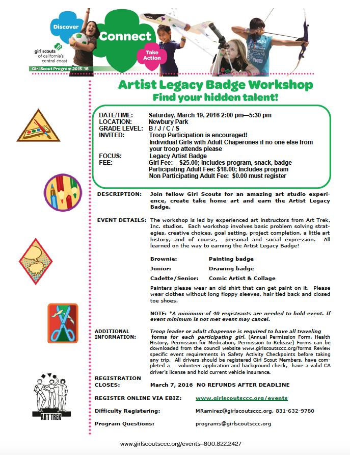 Girl Scouts | Artist Legacy Badge Workshop — Art Trek