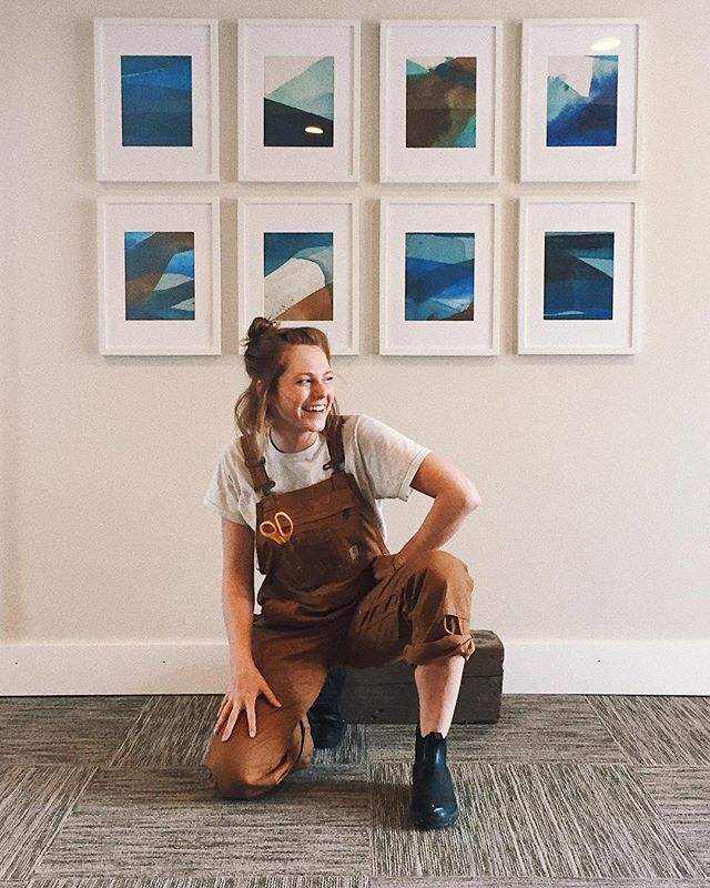 She's in her overalls again- excited, ready to tackle the lighting against reflective frames for the final day of install. . Hope you get to join me this Friday for a collection of paintings that reflect on the year I've had since leaving this beautiful place. @manchestermarine . 📸: @vickeeks . . . . . . . . . . . . . . . . . . . . . . . . #vsco #vscocam #vscogood #paint #painter #art #artist #modernart #artbuyers #art_empire #showyourwork #landscape #acrylicpaint #me #creative #paintingprocess #studio #color #abstract #artistsofinstagram #northshore #design #gallery #soloshow #boston #northshore #manchestermarine