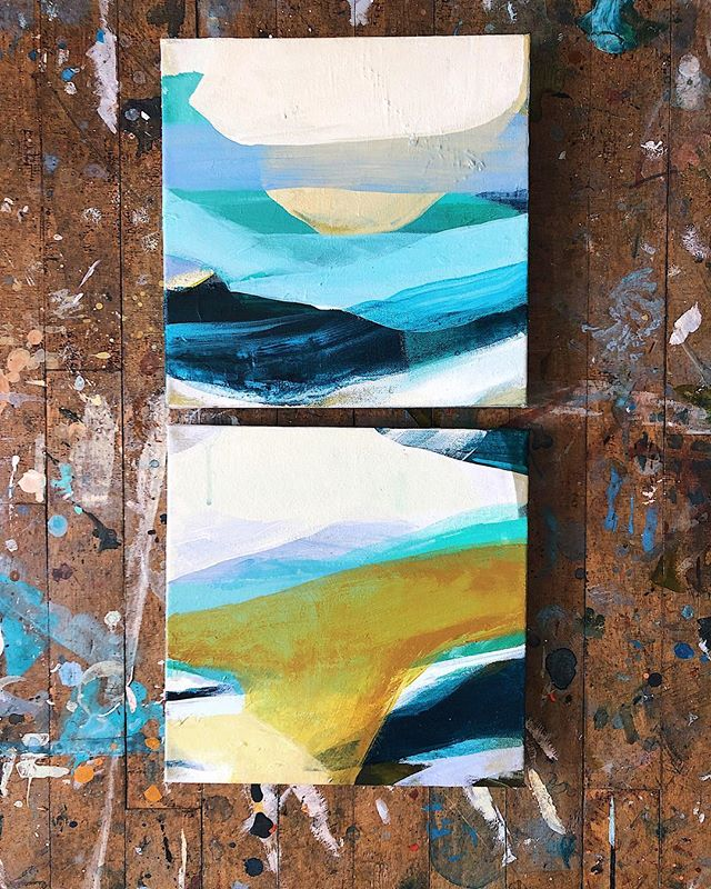 "On my way to P-town to hang ""together & apart"" at @thecaptainsdaughters — these puppies are joining the show ✨ . . . . . . . . . . . . . . . . . . . . . . . . . #vsco #vscocam #vscogood #paint #painter #art #artist #modernart #artbuyers #art_empire #showyourwork #landscape #acrylicpaint #me #creative #paintingprocess #studio #color #abstract #artistsofinstagram #boston #northshore #design #gallery #capecod #ptown"