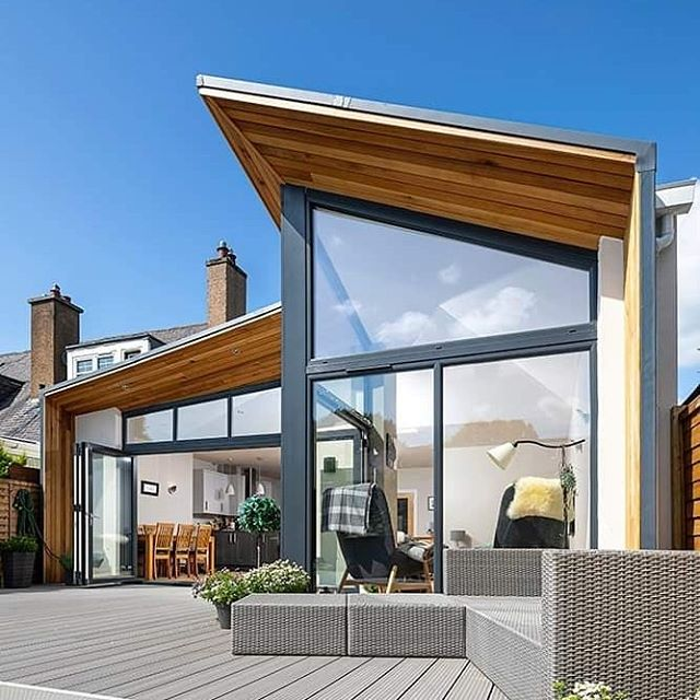 Lovely completion photos from @rcphotographist for our contemporary extension in Blackball, Edinburgh. The interesting roof forms are generated by a desire to bring in as much light as possible, through the openings into the garden and roof lights above. #edinburgharchitects #edinburgharchitect #midlothianarchitect #midlothianarchitects #bespokedesign #gardenroom #contemporaryarchitecture