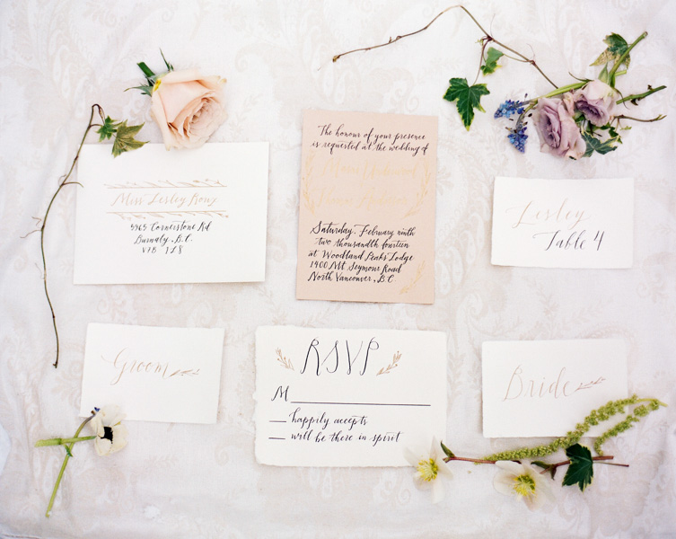 A ethereal shoot on Mt. Seymour reminiscent of blush tones on bright white snow. Gold and black ink. Photo by  Nadia Hung Photography . Calligraphy by  Fox and Flourish .All handmade paper from Paper-Ya.
