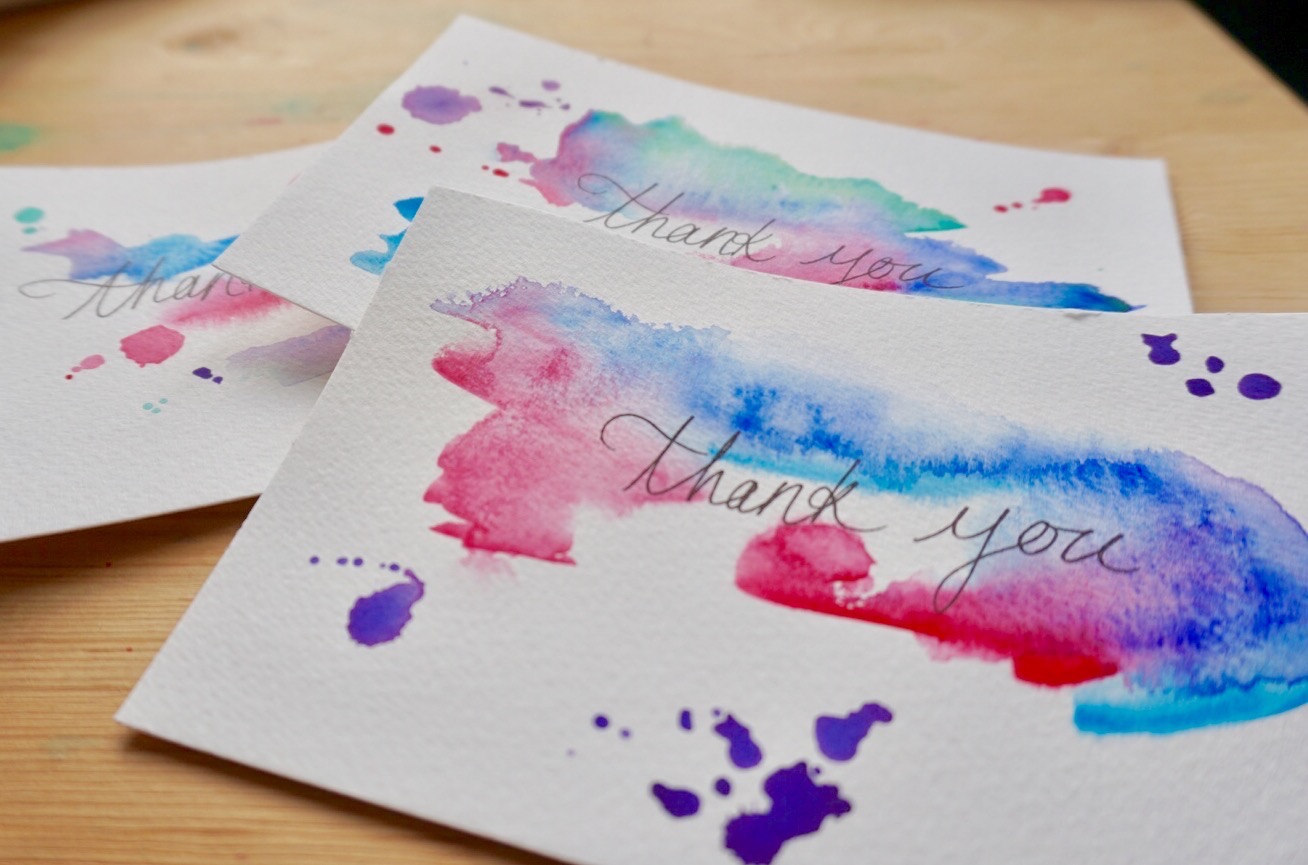 140lb paper, and random watercolour splattering for an effortless, colourful look.