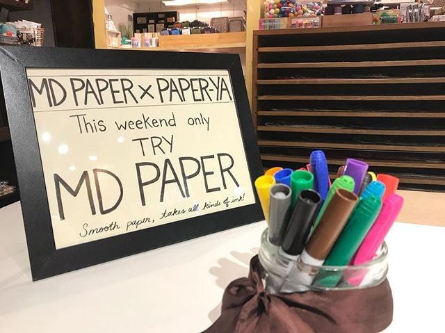 The second day of our MD paper testing event is happening today. Come try a variety of pens on this lovey paper! #stationery #midori #event #todayonly #vancouver #granvilleisland