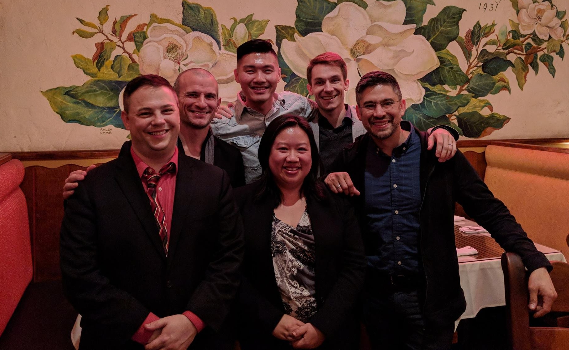 Jeremiah and Wendy post-reading session with composers Jerome Kurtenbach, Saunder Choi, Luke Flynn, and conductor Gene Peterson