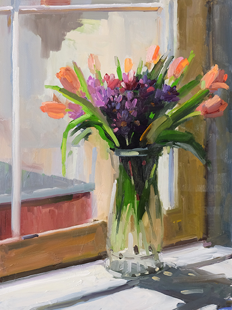 Tulips and Mums in the Window