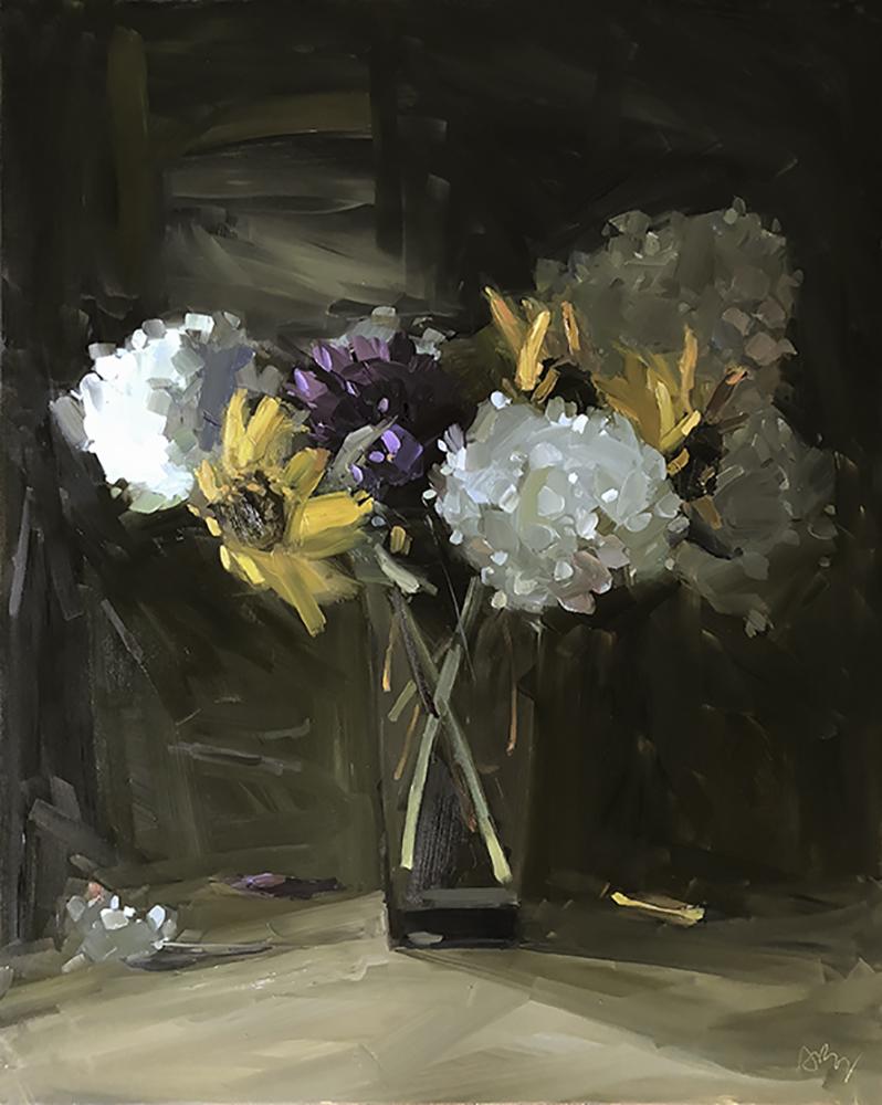Hydrangeas, Sunflowers, and Dahlias