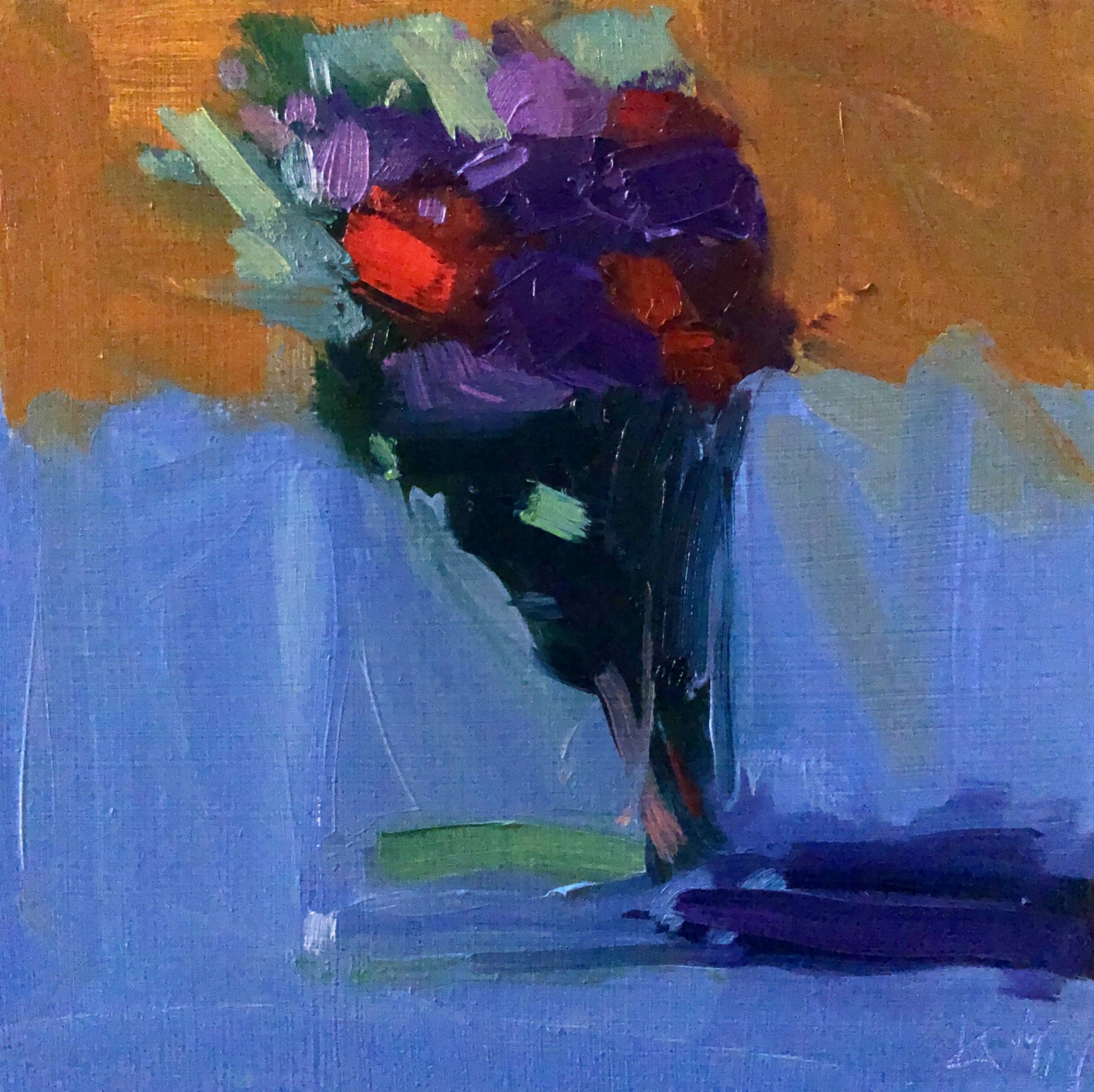 Red Carnations and Purple Staff, 8 x 8, oil on panel.
